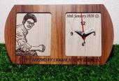 Wood Print Photo Frame With Clock