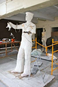 Cathy's life-sized sculpture of a WWII sailor for the Queensland Maritime Museum