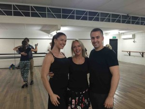 Ruth at classes with May and Jose, World Tango Champions