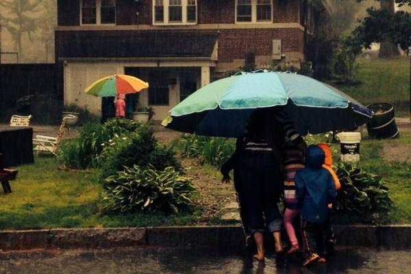 Jumbo umbrellas and a garden walk to shelter