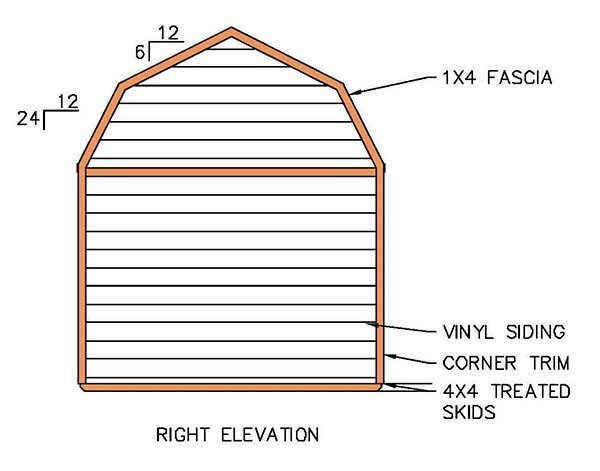 1216 Gambrel Shed Plans Amp Blueprints For Barn Style Shed