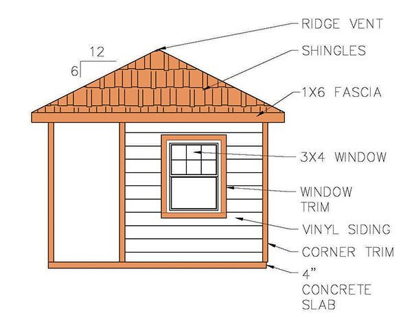 812 Hip Roof Shed Plans Amp Blueprints For Cabana Style Shed