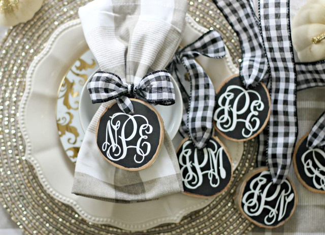 Monogram Birch Wood Place Cards