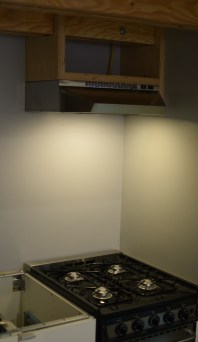 """During installation we dropped the range hood down closer to the stove so we do not have to be staring at the underside and to ensure proper exhaust. In return we gained a little storage above! In less than two weeks, THIS adorable little 20"""" wide set up will be pumping out delicious and creative meals for the foreseeable future."""