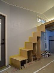 The stairs are getting their finish coat on.