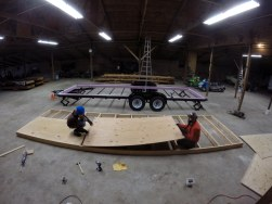 Sheathing the under carriage of our floor system.