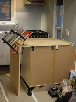 """This is our peninsula counter and it is about to be wrapped in 1"""" birch plywood."""