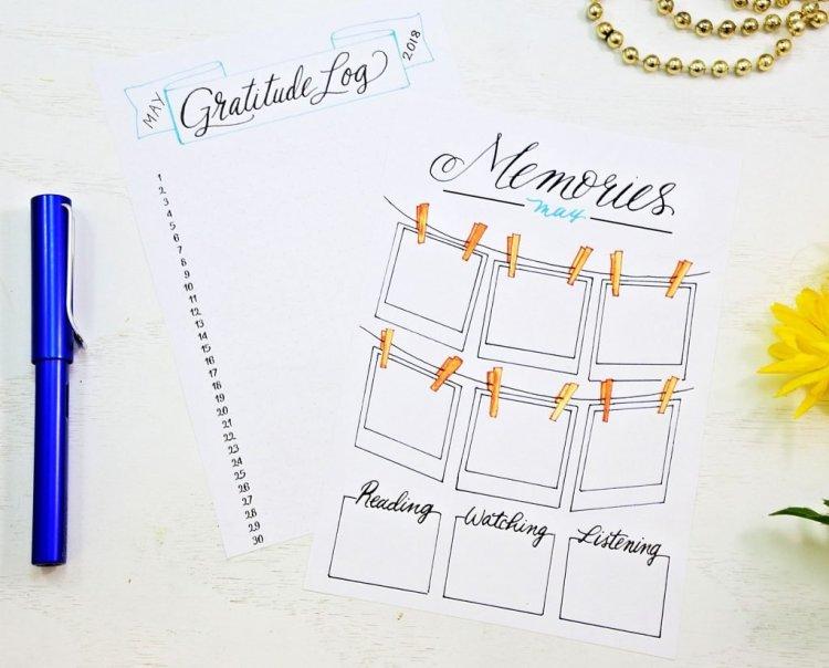 bullet journal printable gratitude log memories page