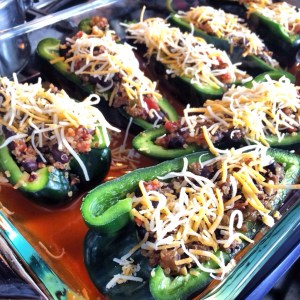Quinoa & Black Bean stuffed Poblanos
