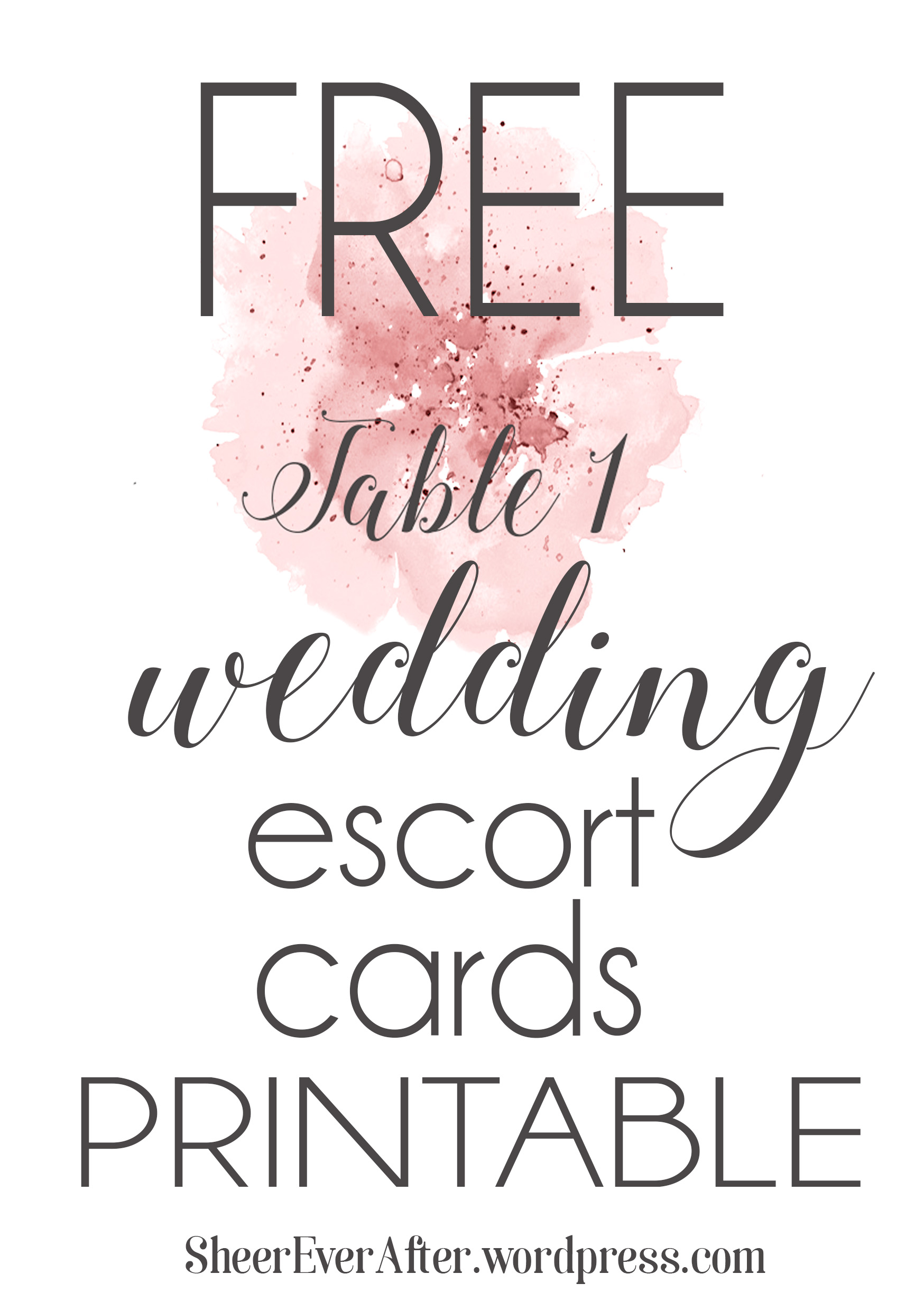 image relating to Printable Escort Cards called No cost Escort Card Printable!  Sheer At any time Just after