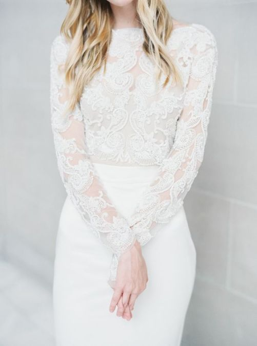 Low-key + Understated Bridal gowns | Sheer Ever After Wedding Dress Inspiration | Follow Us at bit.ly/Sheereverafter