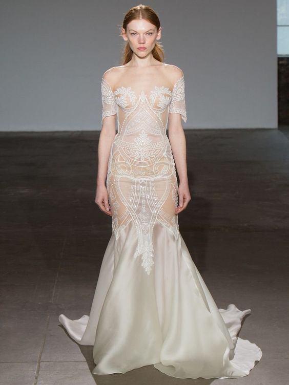Nude and sheer wedding dress inspiration