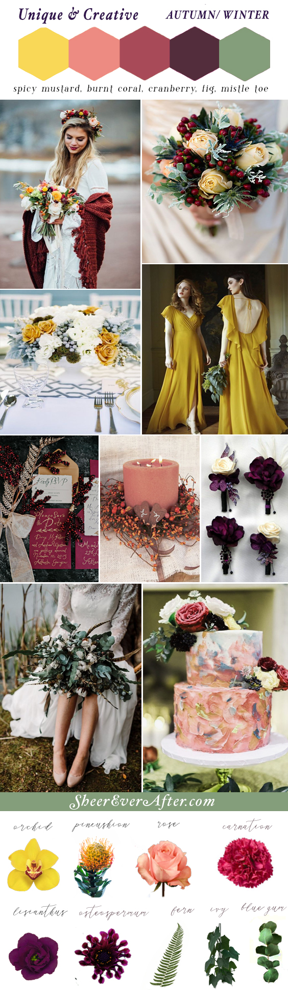 Unique & Creative Wedding Winter and Autumn Color Palette | This and more at www.SheerEverAfter.com