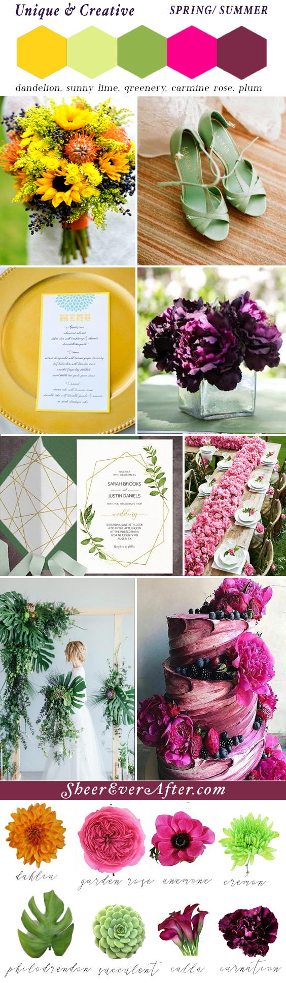 Unique & Creative Wedding Color Palette | This and more at www.SheerEverAfter.com