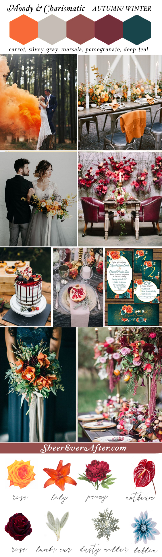 Moody color schemes to add charisma and captivating beauty to your wedding | This and more at www.SheerEverAfter.com