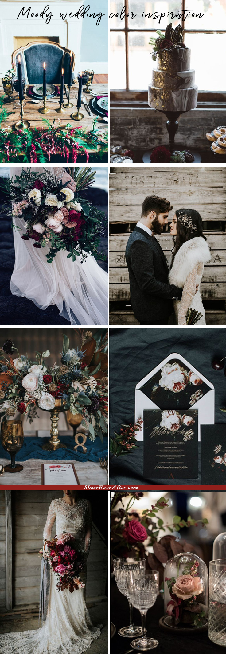 Moody color schemes to add charisma and captivating beauty to your wedding   This and more at www.SheerEverAfter.com