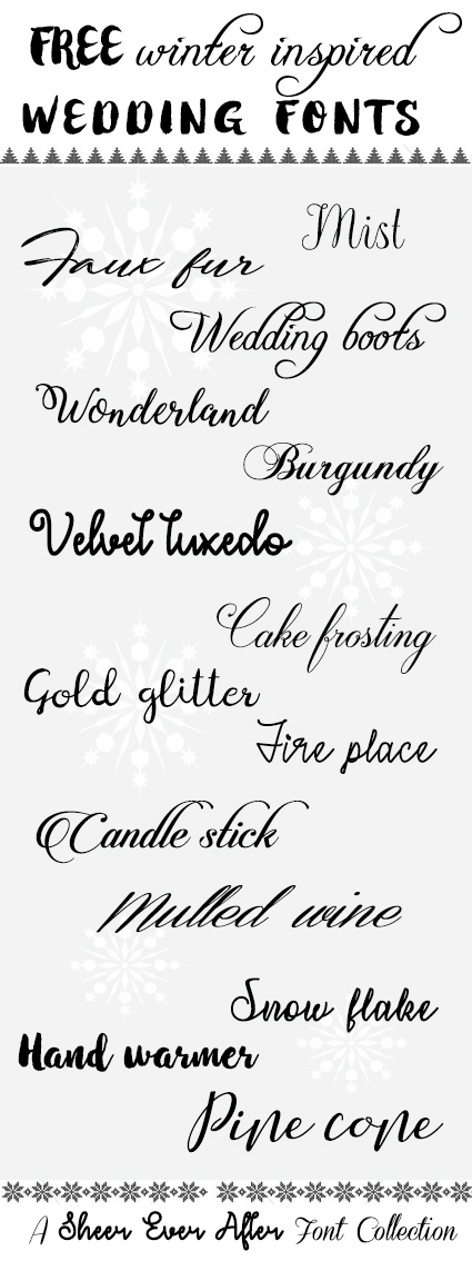 100% FREE wedding fonts - inspired by winter | SheerEverAfter.com