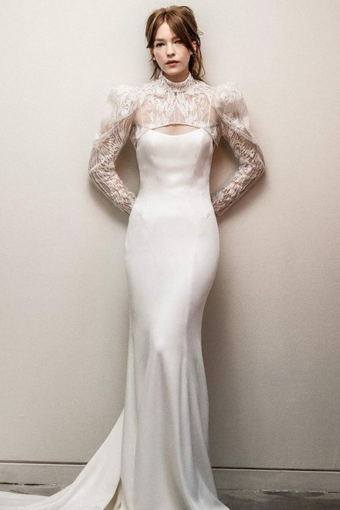 Sheereverafter.com featuring - Rivini Rita Vinieris fall 2021 bridal long puff sleeve high neck jacket sleeveless thin straps scoop neckline clean minimalist sheath wedding dress chapel train