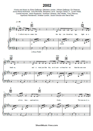 Download 2002 Sheet Music Anne-Marie