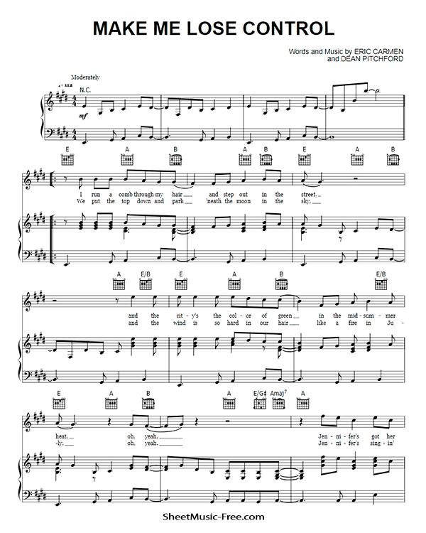 Download Make Me Lose Control Sheet Music PDF Eric Carmen