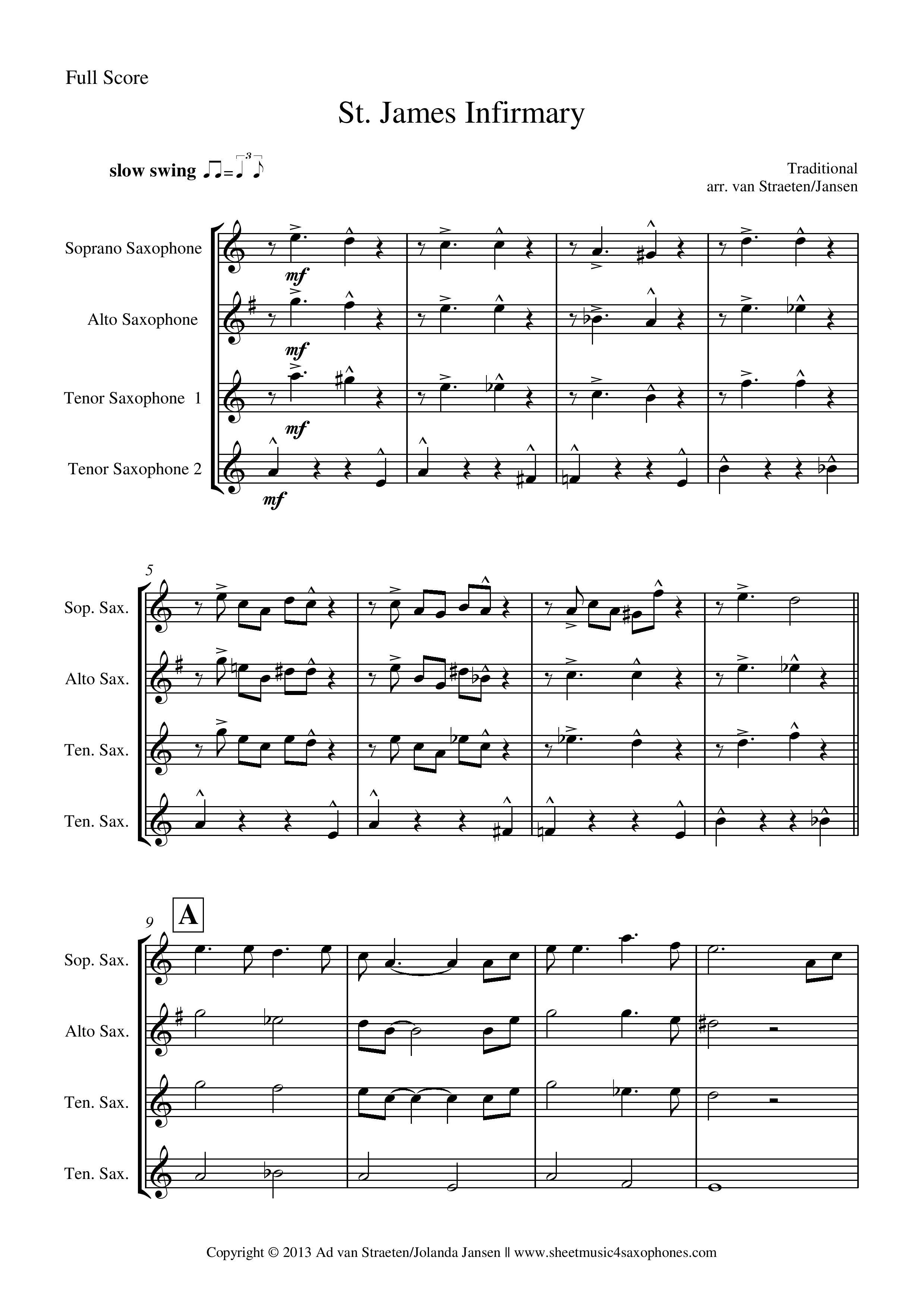 Jazz Saxophone Quartet Sheet Music