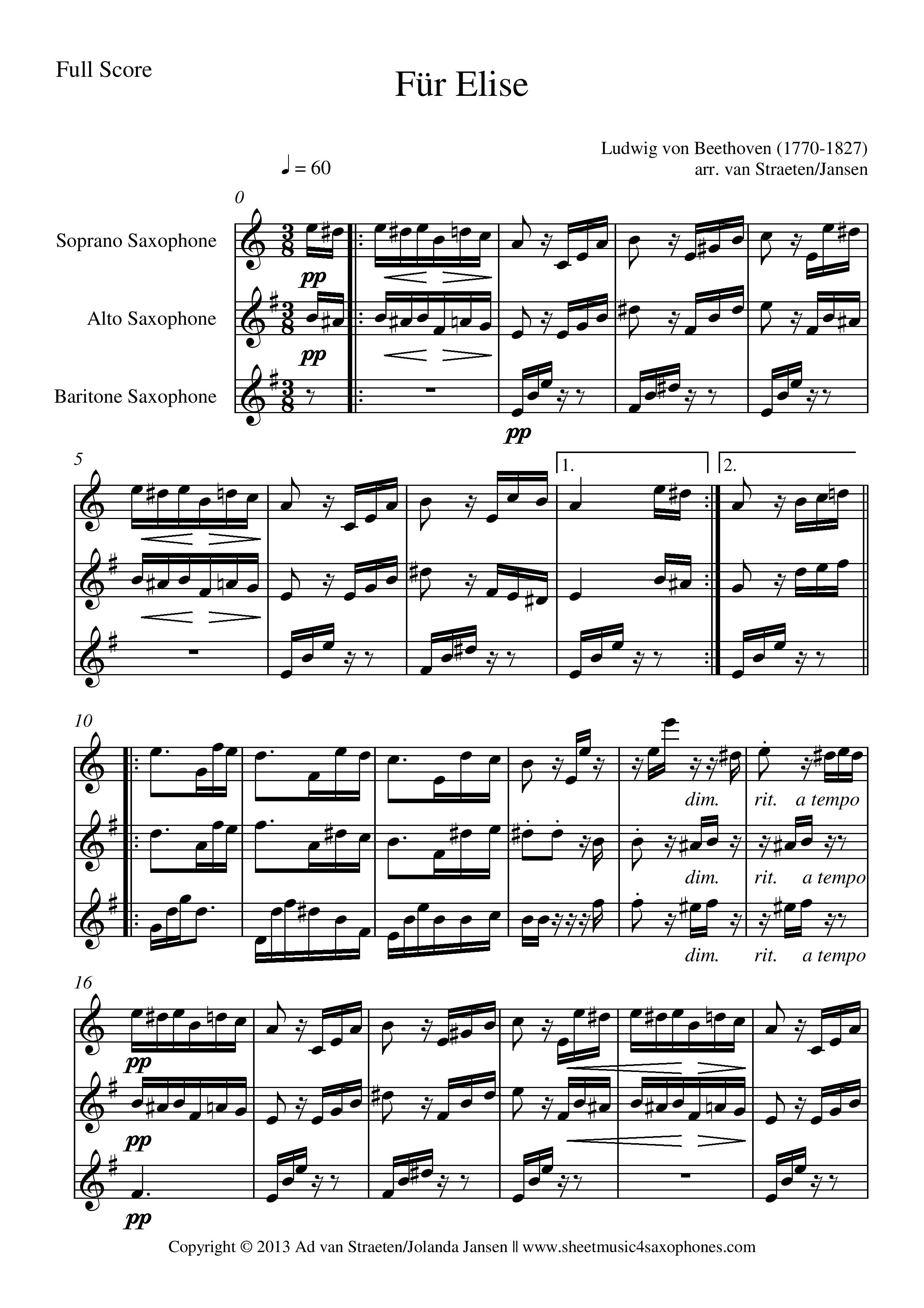 Fur Elise Sheet Music With Letters