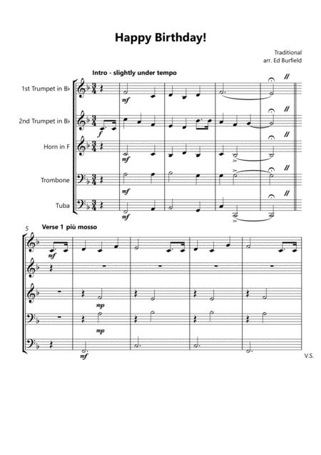 Happy Birthday With Variations For Brass Quintet Sheet Music Pdf Download Sheetmusicdbs Com