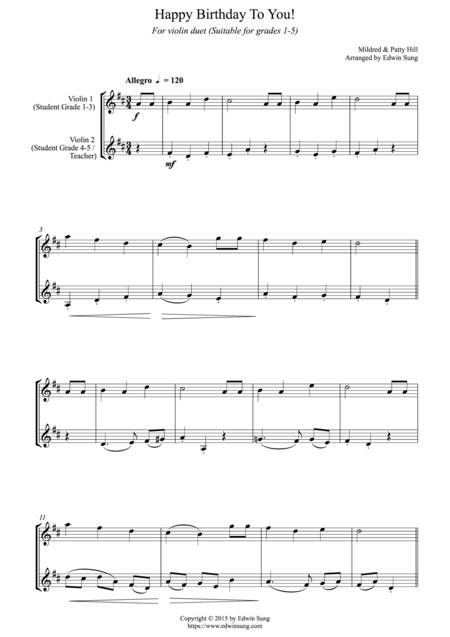 Happy Birthday To You For Violin Duet Suitable For Grades 1 5 Sheet Music Pdf Download Sheetmusicdbs Com