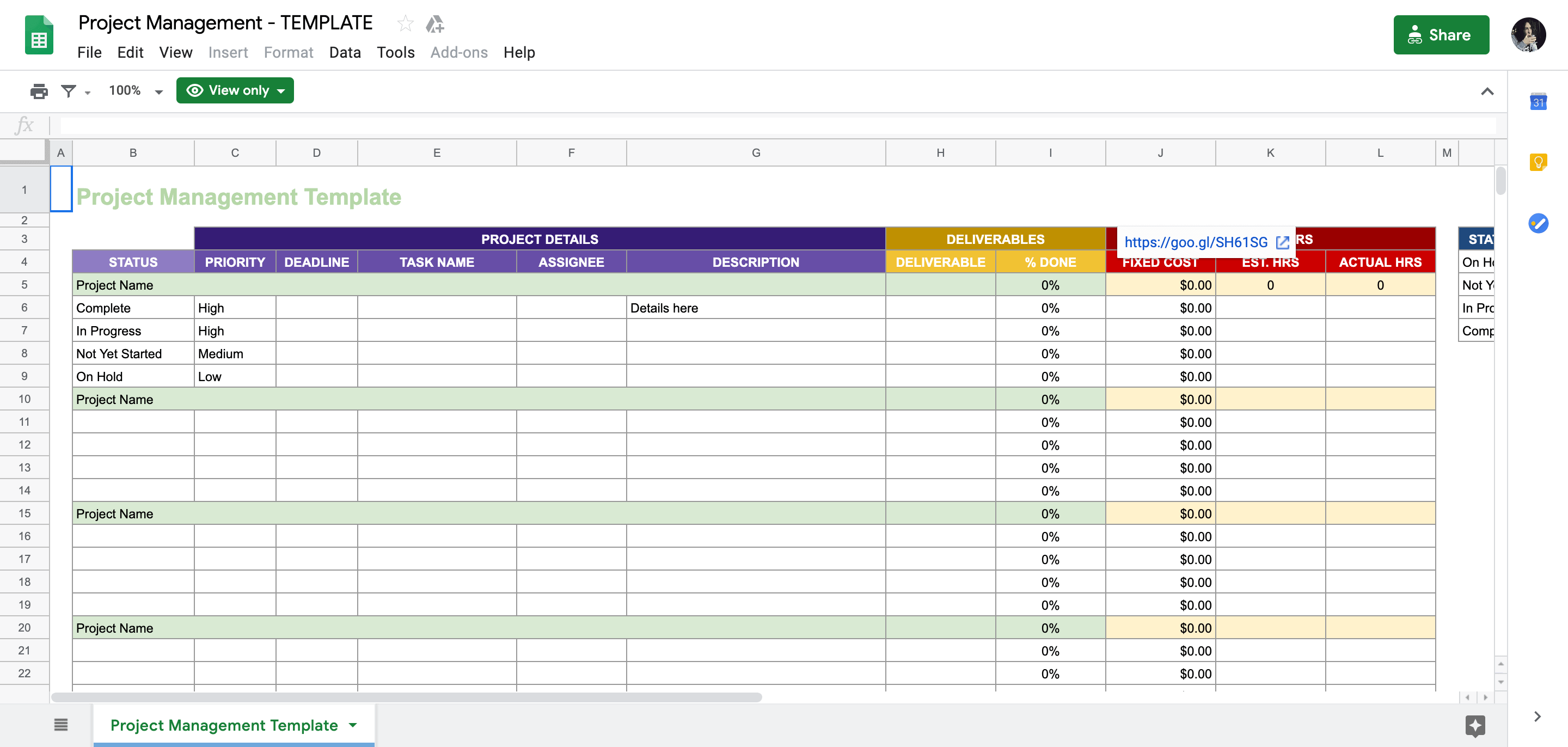 Project Management Templates In Sheets