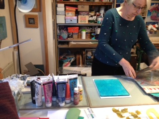 Shared practice group gelli printing