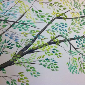 Close up, tree mural for baby's room, Swampscott, MA.