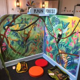 Curious World exhibit. Rain Forest Biome mural. Curious City Pop-Up Children's Museum, Peabody, MA
