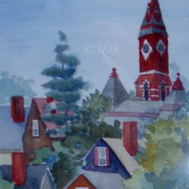 "Crocker Park View, watercolor, 8"" x 10"" (Marblehead, MA)"