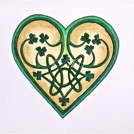 "Celtic Heart with Tiny shamrocks, ink & pencil, 8"" x 10"""