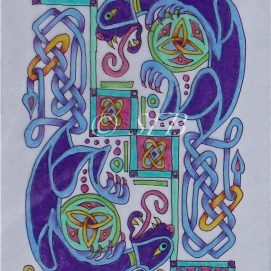 """Celtic Cats, ink & pencil, 5"""" x 7"""""""