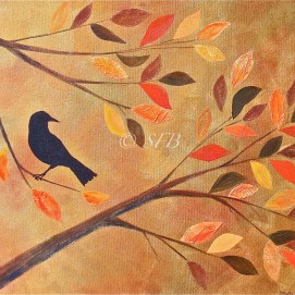 "Autumn Crow, mixed media, 16"" x 20"""