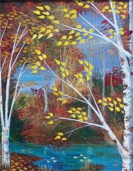 """Autumn Birch, acrylic, 11"""" x 14"""""""