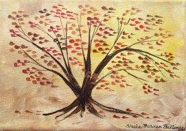 "Autumn Tree, acrylic, 5"" x 7"""
