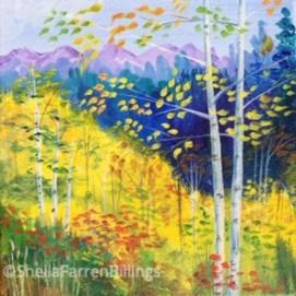 "Birch Mountaintop, acrylic, 8"" x 8"""