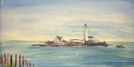 "Boston Light, acrylic, 12"" x 24"" (Boston Harbor, MA)"