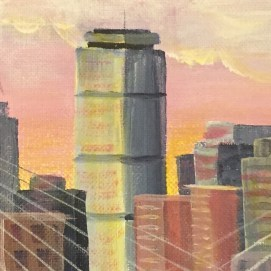 "Boston Skyline Sunrise, acrylic, 4"" x 12"""
