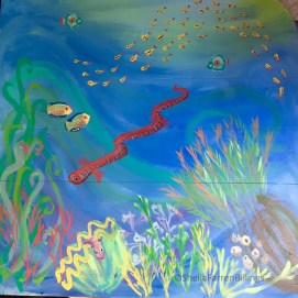 Coral Reef Biome mural (left side). Curious City Pop-Up Children's Museum, Peabody, MA