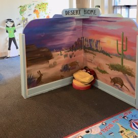 Curious World Exhibit, Desert Biome mural. Curious City Pop-Up Children's Museum, Peabody, MA