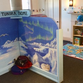 Curious World exhibit, Tundra Biome mural. Curious City Pop-Up Children's Museum, Peabody, MA
