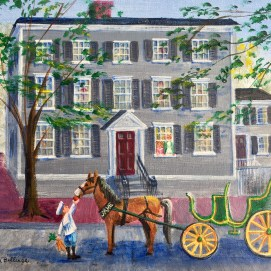 The family is getting ready for an outing and has had their horse and carriage brought around to the front of their house. In the Middle, written by Virginia Blake Frazier, illustrated by Sheila Farren Billings