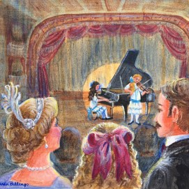 Virginia attending the piano recital - a big girl at last! In the Middle, by Virginia Blake Frazier, illustrated by Sheila Farren Billings