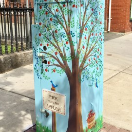 Outside the Box Project, Brooksby Farm mural in front of Peabody Public Library, Main Street, Peabody, MA