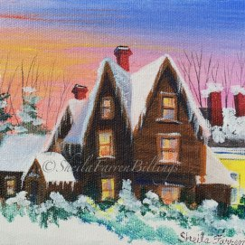 "Gables Winter, acrylic, 5"" x 7"" (The House of the Seven Gables, Salem, MA)"