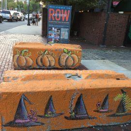 Artists' Row, Concrete Barriers for traffic control during Haunted Happenings. Salem, MA
