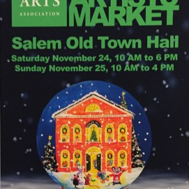 Official event poster for the 2018 Salem Arts Association Holiday Artists' Market.